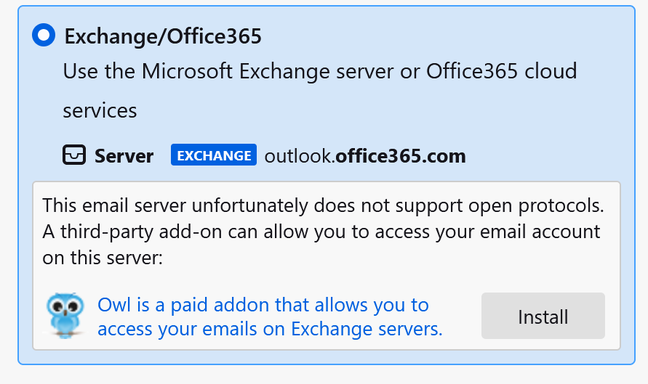 Thunderbird is not happy with Office 365 in cases where IMAP is not available