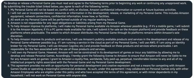 Screenshot of Amazon Game Studios agreement