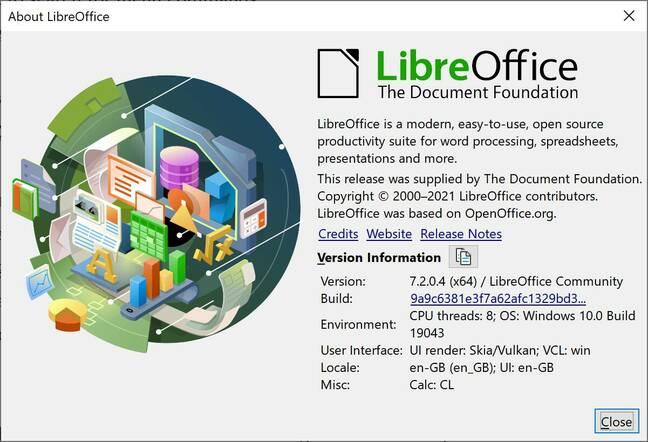 LibreOffice 7.2 on Windows 10