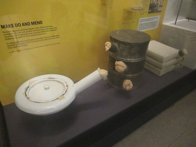 A bed pan and some biscuit tins used to grow penicillin (click to enlarge) Pic (c) SA Mathieson