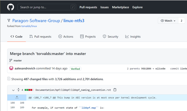 Don't do this, said Linus Torvalds: a merge using the GitHub user interface