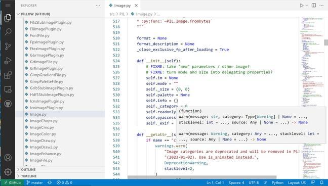 Python code in the github.dev editor