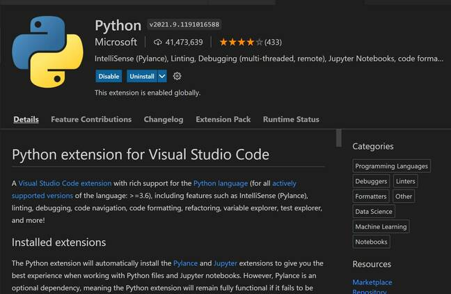 The Python extension has over 41 million installs