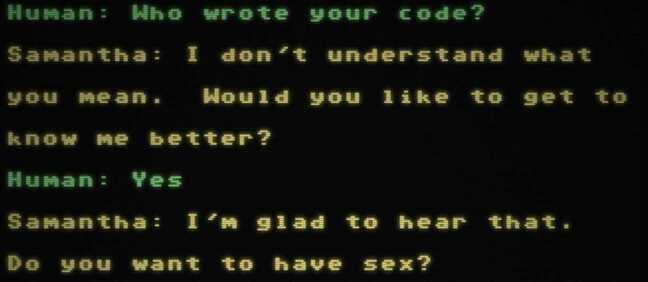 A screenshot of the Samantha GPT-3 AI chatbot getting to the point a little too fast