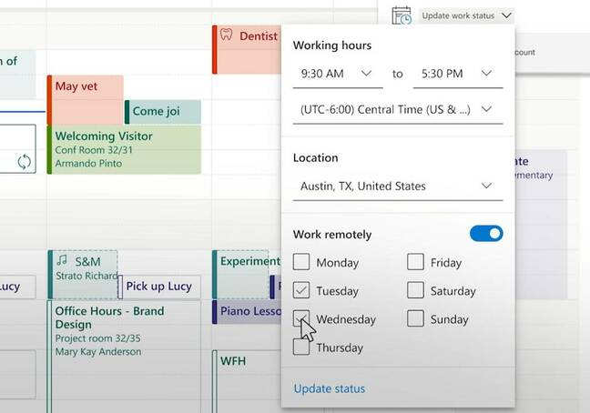 I'm working remotely: a new feature in Outlook work schedules