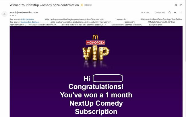 Screenshot of McDonald's Monopoly VIP promotion that exposed database login credentials