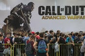 People queuing outside an event for Call of Duty Advanced Warfare