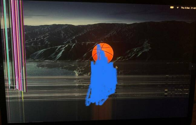 Image of a faulty Apple MacBook screen from an Almeida complaint