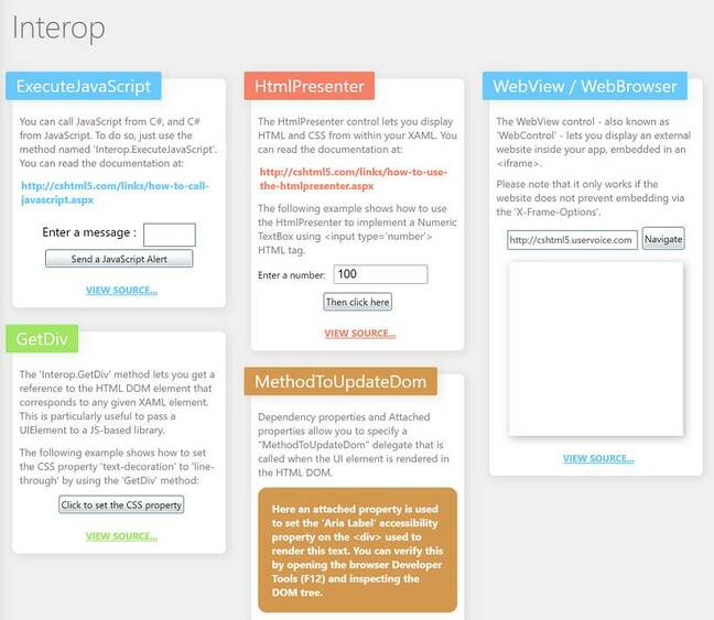 The OpenSilver showcase includes interop examples and a WebView control