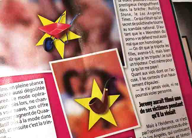 Blurred-out photos from a magazine with icons to suggest what they would depict