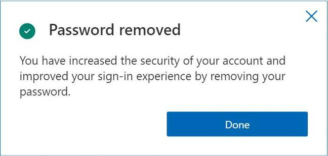 Screenshot acknowledging your password has been removed from your Microsoft account