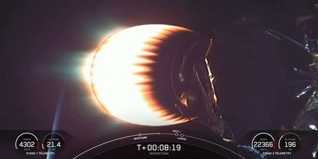 view of the second stage of SpaceX's Inspiration4 launch