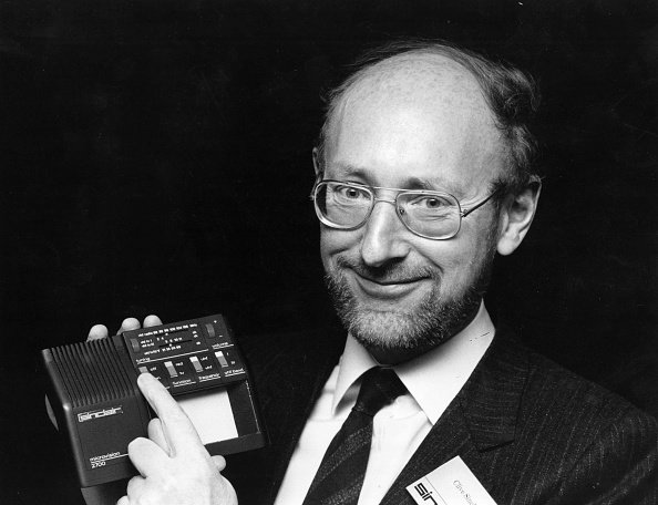 Clive Sinclair, founder of Sinclair Research, displays the prototype of a new multi-standard flat screen television in 1981. Source: Getty
