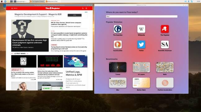 flow on the raspberry Pi-400 (running Raspberry Pi OS)