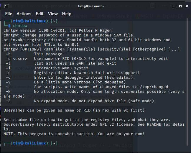 Recovering a Windows password with Kali Linux - will not work if Bitlocker encryption is used