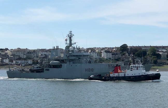 An old friend of The Register passed Severn as she left Portsmouth: HMS Enterprise, which hosted the original Boatnotes series from the Arctic Circle