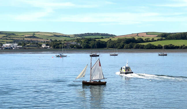 A police launch cleared HMS Severn's path of civilian sailors, including this pretty little sailing vessel. Note the outboard motor (click to enlarge) Pic: gareth Corfield
