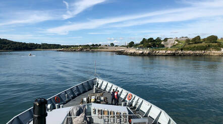 The view from HMS Severn's bridge as she entered Plymouth harbour