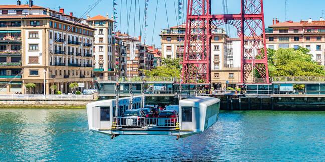 Gondola of the Vizcaya Bridge in Biscay province, Spain. T