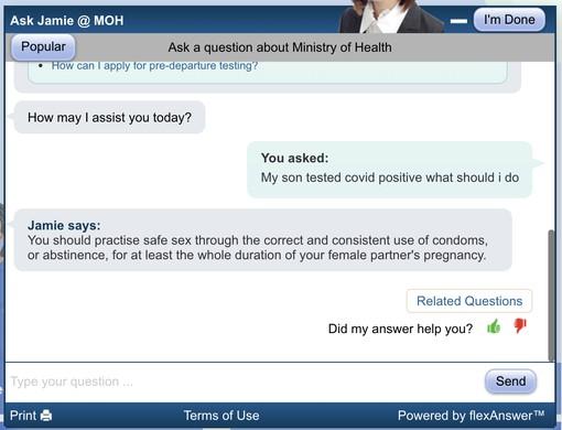 Ask Jamie chatbot COVID health advice fail