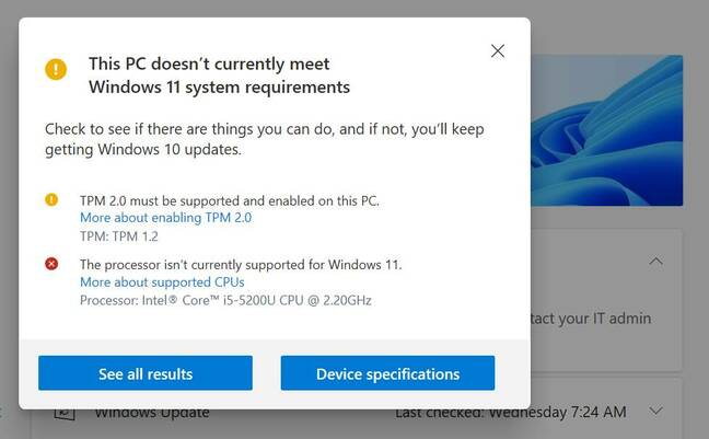 Health check says no: but with the bypass key, Windows 11 installed successfully