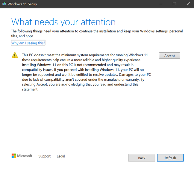 This warning appears when installing Windows 11 on unsupported hardware