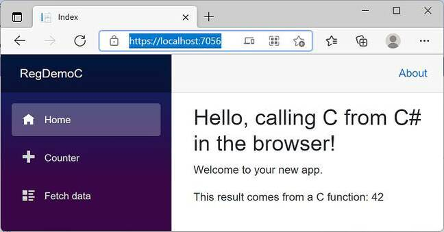 A Blazor application can now include C and C++ code