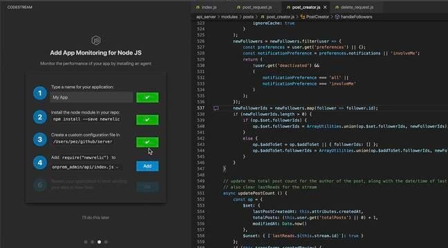Adding app monitoring for a Node.js application