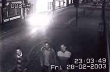Three of the grinning blaggers caught on CCTV