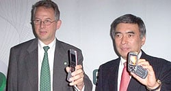 Wäreby (left) and Ihara show the Z500 and S700 phones