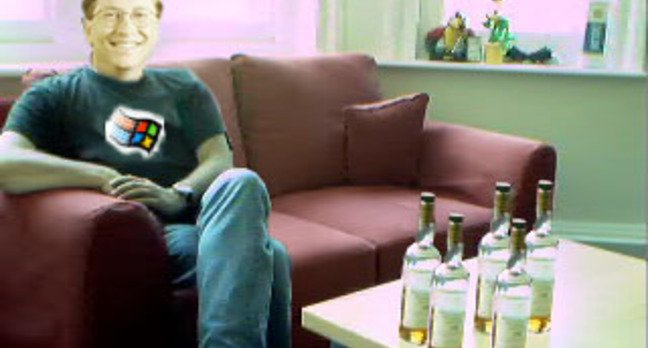 Bill Gates alone on sofa