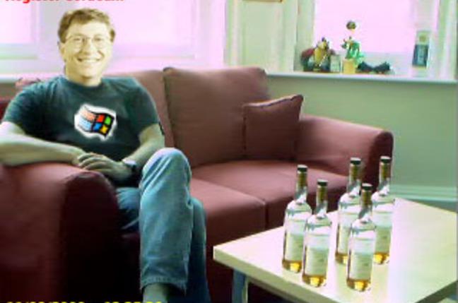 Bill Gates alone on sofa
