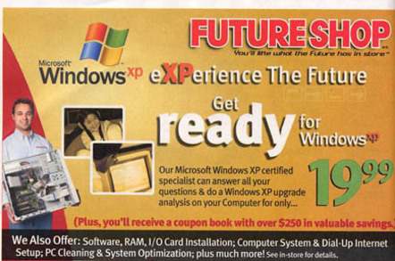 Canadian reseller ad for XP